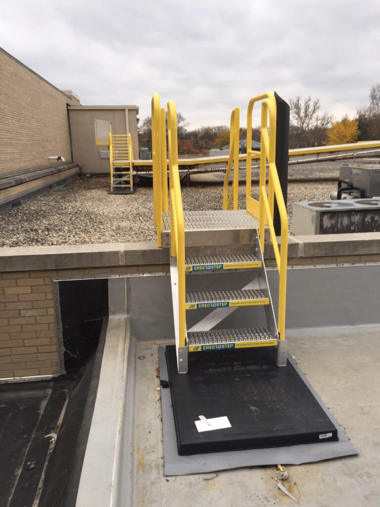 Erectastep rooftop 3 step access stairs
