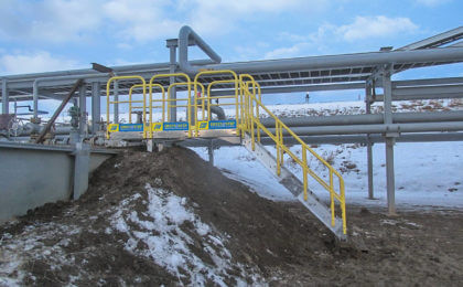 Pembina Alberta Industrial stairs earth berm crossover maintainance access unit