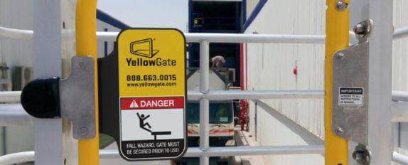 YellowGate swing gate mounted on a SafeRack MAUI truck access unit